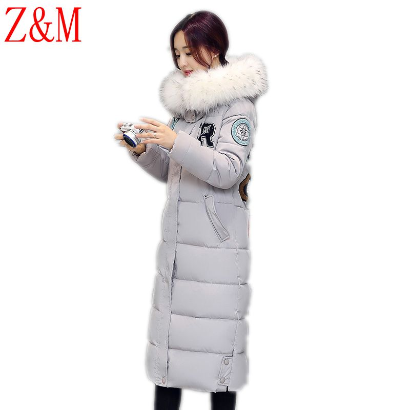 new winter Parka women's Korean down jacket cotton students with thicker cotton-padded hooded Long Fur Coat