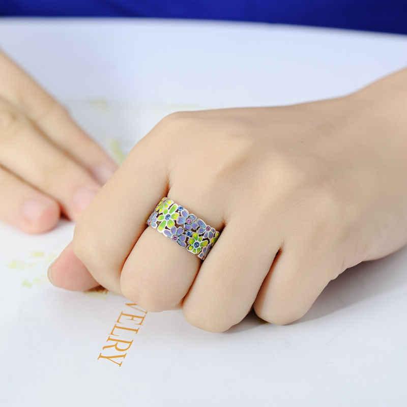 SANTUZZA ดอกไม้แหวนผู้หญิงที่มีสีสันความโปร่งใส HANDMADE ดอกไม้แหวนแฟชั่นเครื่องประดับ