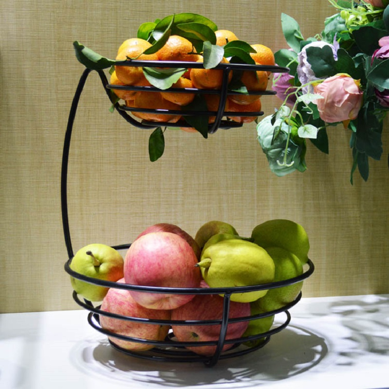 Two Story Fruit Basket Storage Fruit Pots Bandeja Lron Fruit Plate Storage  Living Room Metal