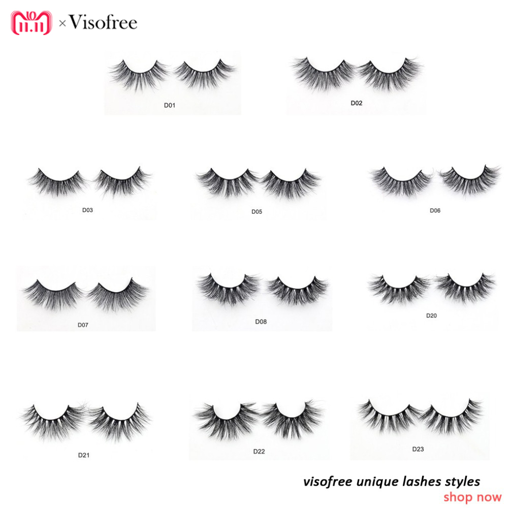 Visofree Eyelashes 3D Mink Lashes Luxury Hand Made Mink Eyelashes Medium Volume Cruelty Free Mink False Eyelashes Upper Lashes цена