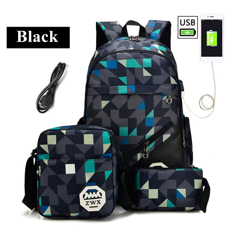 Backpack 17 Inch Waterproof Laptop Bag Nylon Student College Backpack Multifunction USB Charging Laptop School Bag For Men Women