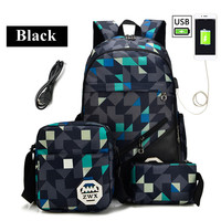 Backpack 17 Inch Waterproof Laptop Bag Nylon Student College Backpack Multifunction USB Charging Laptop School Bag