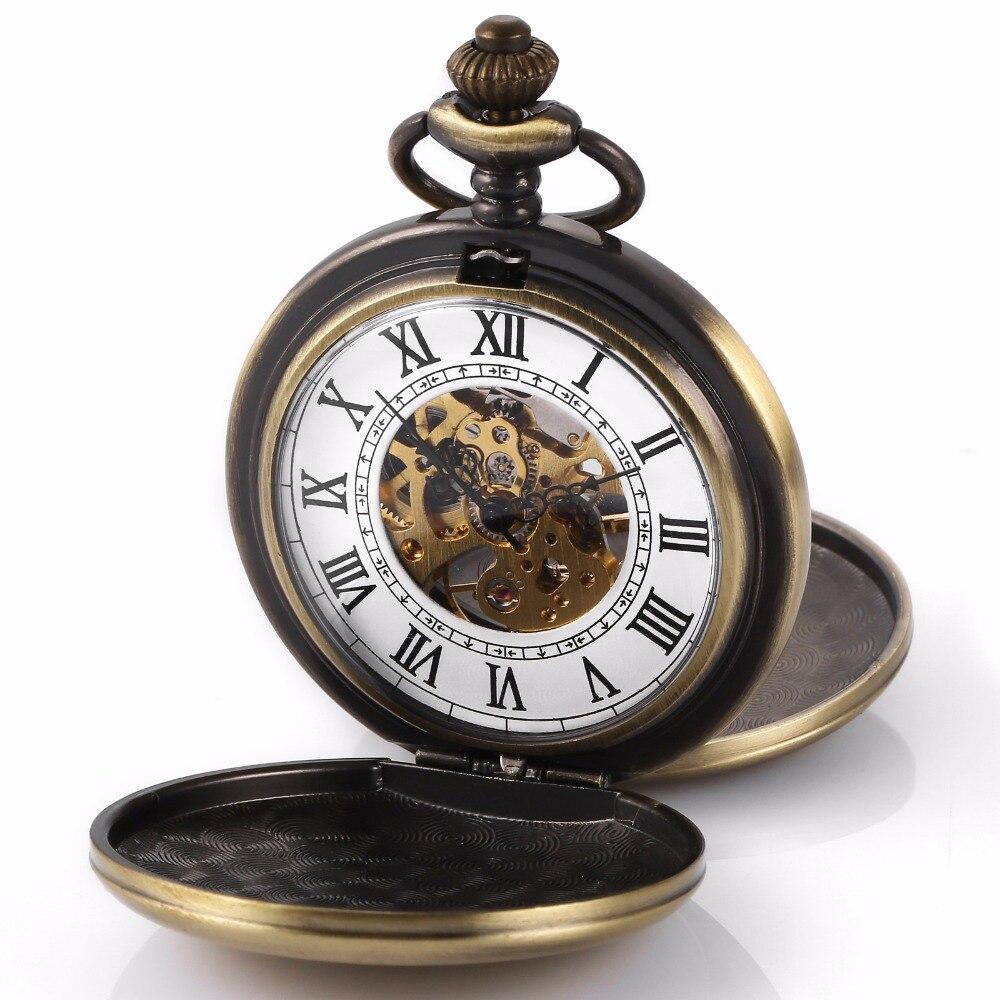 Retro Copper Double Dual Case Hunter Roman Steampunk Skeleton Mechanical Pocket Watch Fob Chain Hand Winding Nurse Clock /WPK228