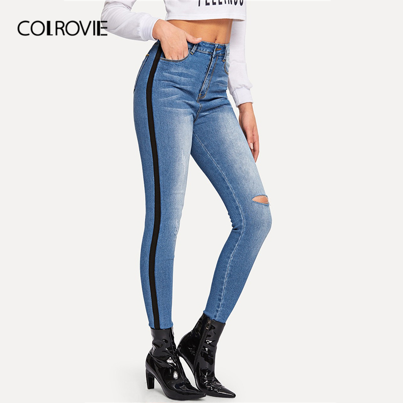 COLROVIE Blue Button Tape Faded Wash Boyfriends Skinny Denim Jeans Women 2019 Ca