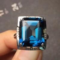 Ювелирные изделия на заказ размер Настоящее 18 К розовое золото AU750 100% натуральный Лондон синий топаз драгоценный камень женские кольца для