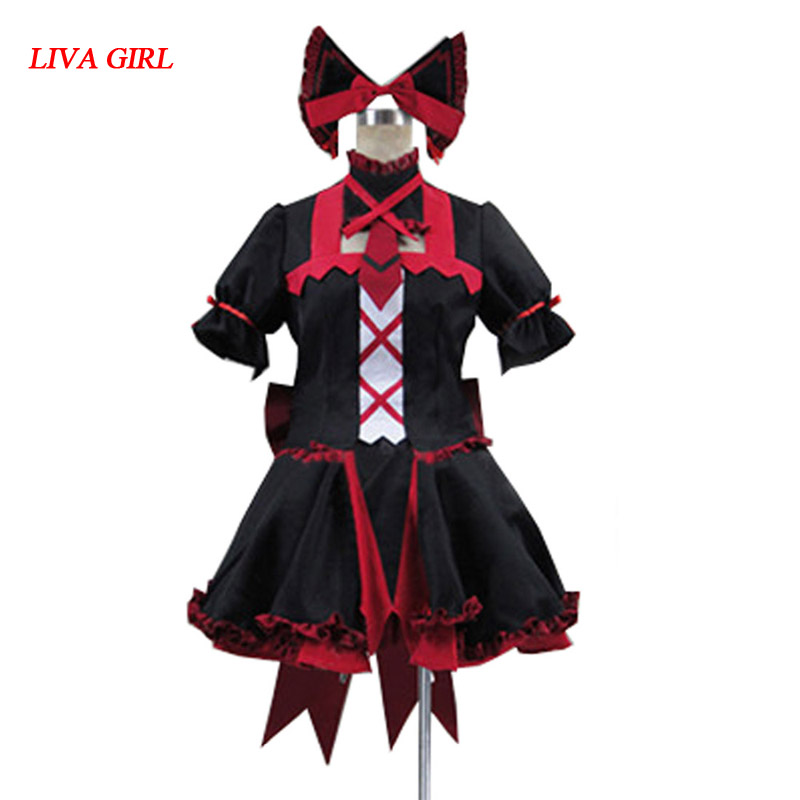 2016 porte Jieitai Kanochi nite Kaku Tatakaeri Rory Mercury Cosplay Costume gothique Lolita robe Costumes de fête
