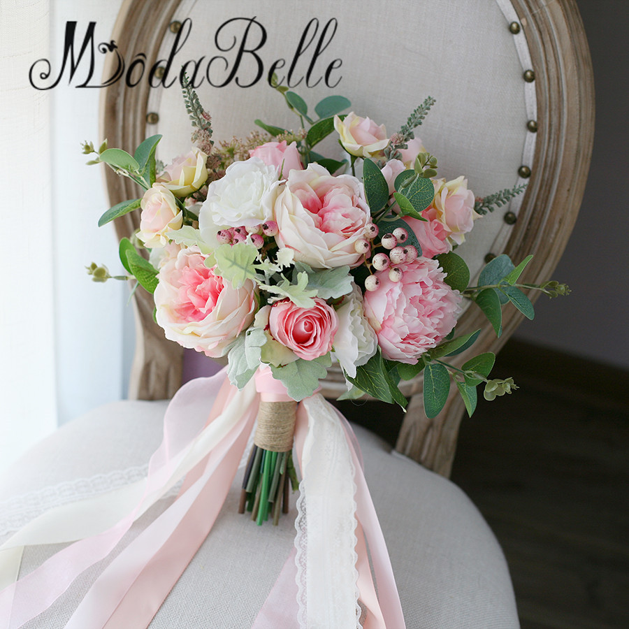 buy modabelle romantic peony wedding bouquets pink green bridal flowers. Black Bedroom Furniture Sets. Home Design Ideas