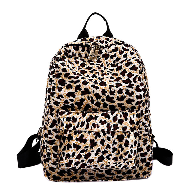 2019 Hot Sale Women Velour Japan And Korean Style Backpack Zipper Leopard Plush Backpack Personalized Student Bag      10