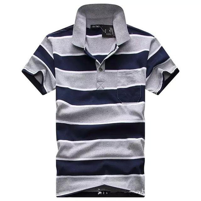 Nuevo Polo de Los Hombres Polos Camisas de Rayas Clásico Estilo de La Moda de Algodón Camisetas de Manga Corta de Los Hombres Del Desgaste de Buena Calidad Cozy Polos