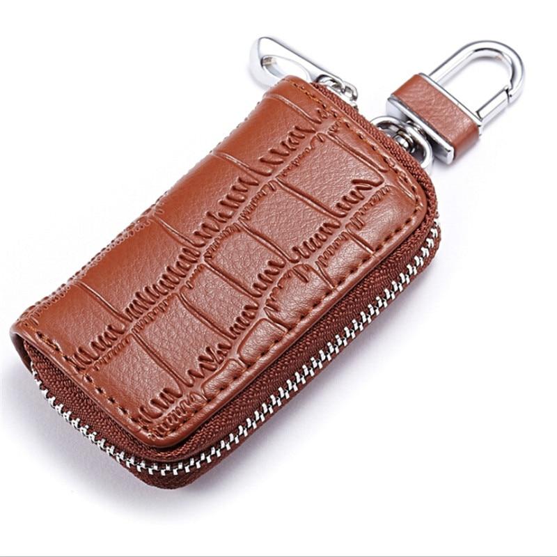 2018 Mode Männer Echtes Leder Zipper Krokodil Auto Schlüssel Tasche Casual Hohe Qualität Tragbaren Schlüssel Tasche 6 Farben Einfach Zu Schmieren