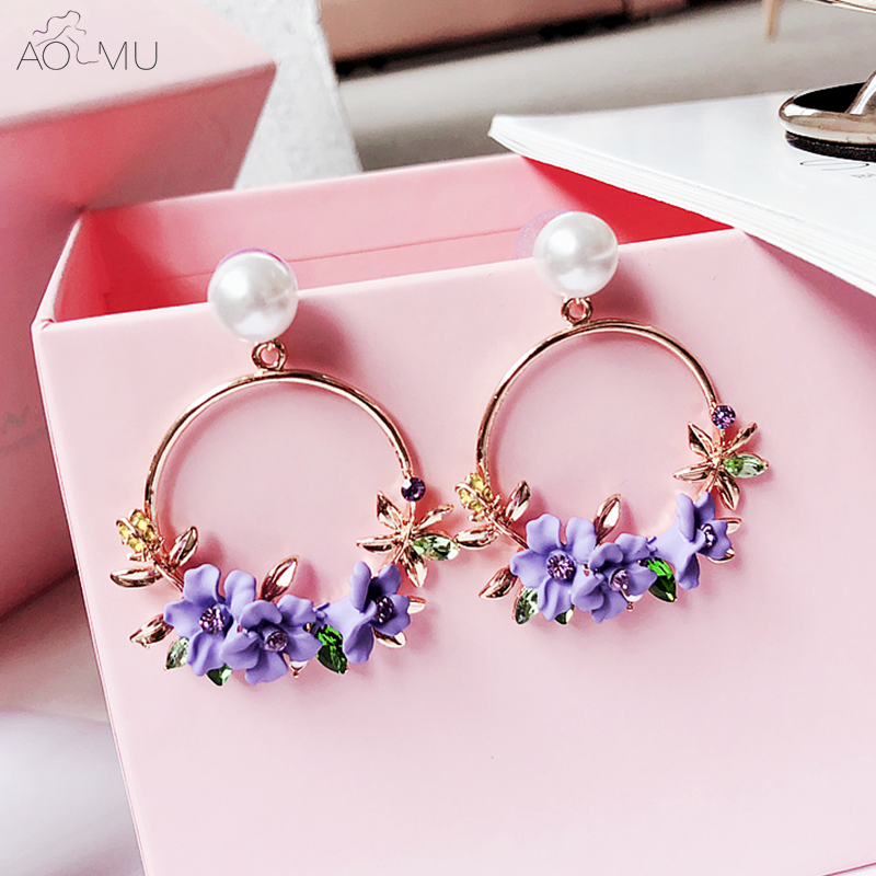 US $2.23 14% OFF AOMU 2018 Korea Polymer Clay Cherry Blossom Flower Big Circle Hoop Earrings Rhinestone Trim Pearl Earrings for Women Party Gift-in Hoop Earrings from Jewelry & Accessories on Aliexpress.com   Alibaba Group