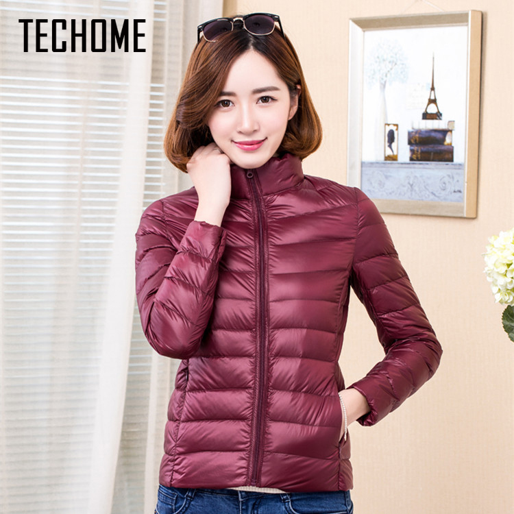 Bright Techome 2017 Woman Coat Ultra Light Down Jacket Women Short Coats Stand Collar Plus Size 4xl With Carry Bag Girl Duck Down Coat Quell Summer Thirst