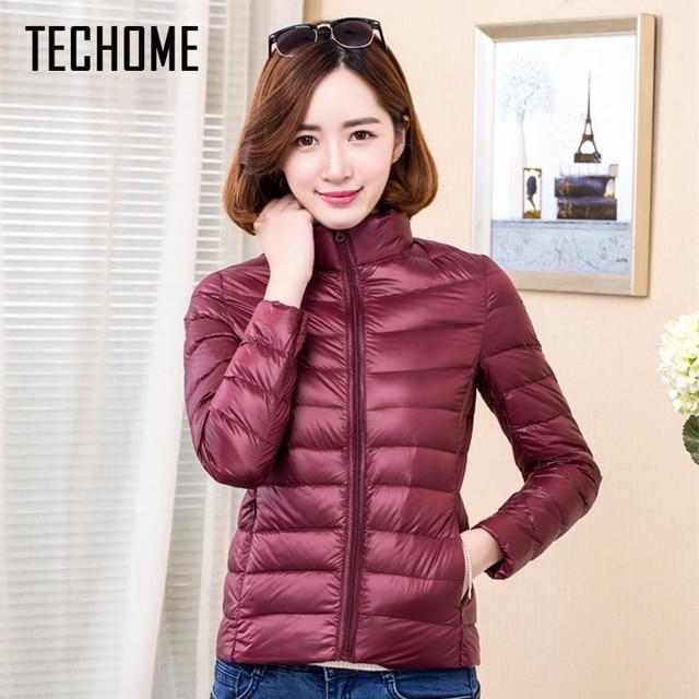 TECHOME 2017 Woman Coat Ultra Light Down Jacket Women Short Coats Stand Collar Plus Size 4XL With Carry Bag girl Duck Down Coat