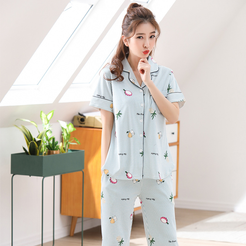 Sujisi woman new pajama set sweet cartoon printing sleepwear women loose stripe pure cotton pyjamas female indoor clothing