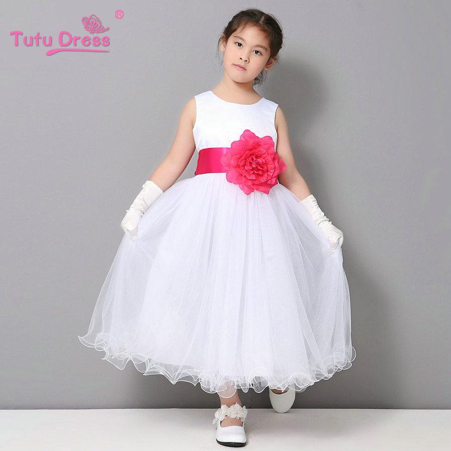 Невесты Локон Белый Принцессы Платье Девушки Платье Ребенка Детей Девочек Одежда