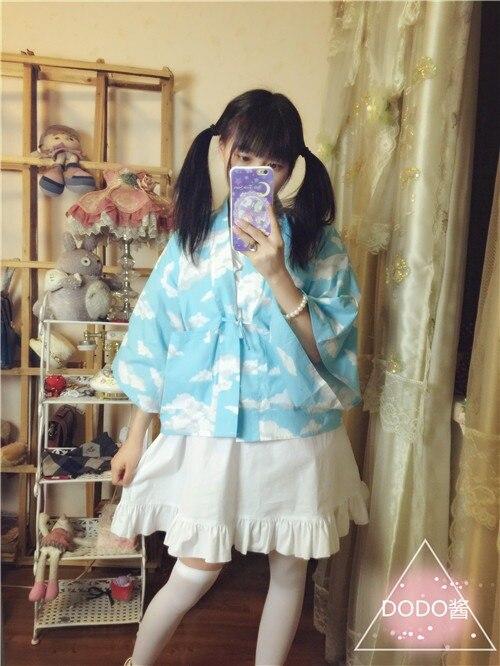 Женский японский кимоно Стиль Верхняя одежда JK короткий кардиган юката стиль винтажная Блузка Косплей 3 узора - Цвет: clouds