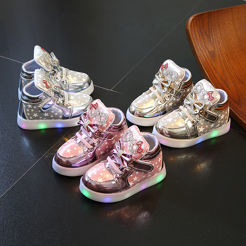 Spring Autumn Children\'S Sneakers With Light Kids Girls Toddler Casual Shoes With LED Light Up Luminous Sneakers SH19052