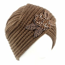 Women Lady Crystal Flower Skullies Woolen Knitted Crochet Beanies Warm Winter Hats Ski Caps Muslim Bonnet