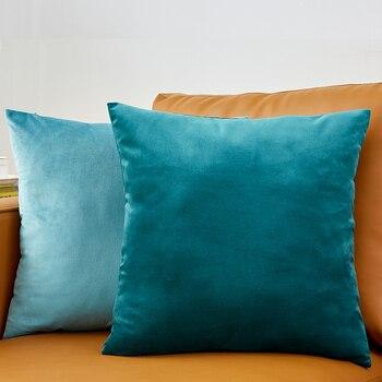 Funda de almohada de 26 colores Funda de cojín de terciopelo para sala de estar Sofá 45 * 45 Kussenhoes Azul Decorativo para el hogar Housse De Coussin 1