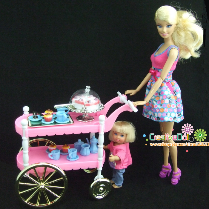 Funny toys for baby girls play doll house toys Cake Car Accessories for Barbie Doll Children Play Toys Girls <font><b>Birthday</b></font> Gift