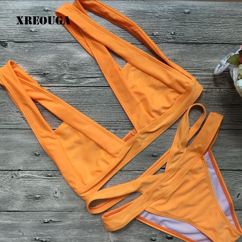 XREOUGA Women Swimwear Bandage Bikini Orange Solid Female Bathing Suit Sexy Halter Bikini Set Beach Swimming Suit BKCS41