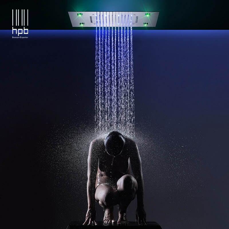 HPB LED 50x36 cm Teto Quadrado Montado 3 Pulverizador Poderoso Configurações de Cabeças de Chuveiro para o Banheiro de Luxo Chuveiro de Chuva HP5036