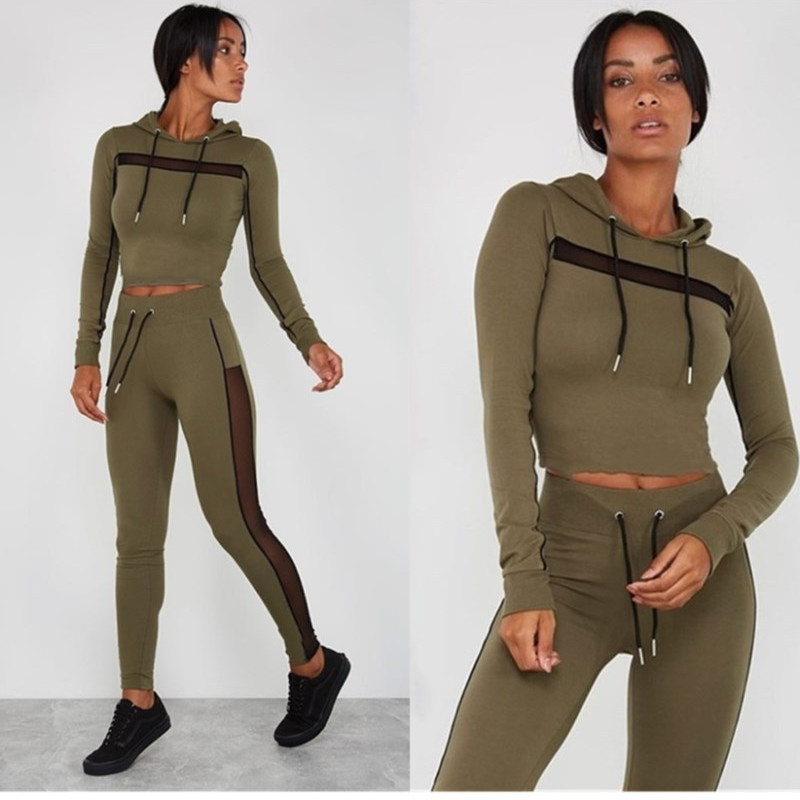 Two Piece Set Tracksuit Women Clothes Chandal Mujer Jogging Femme Matching Sets Mesh Patchwork Hoodie Crop Top Pants Track Suit
