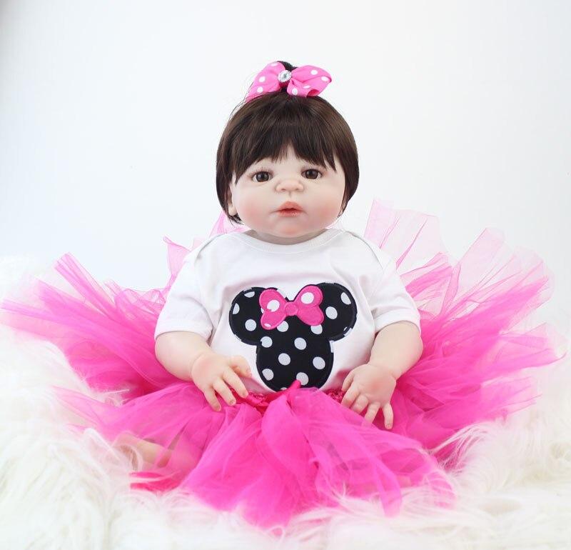 55 см полный силиконовые детские-Reborn куклы новорожденных принцессы для малышей Кукла девочка Bonecas Brinquedos малыш купаться игрушка подарок на де...