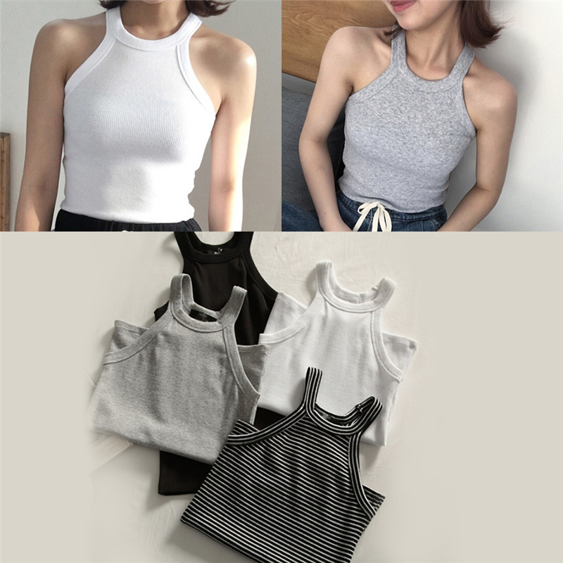 Women Halter Neck Tank Tops Off Shoulder Sleeveless Top Basic Solid Color Tanks Women Slim Knit Top