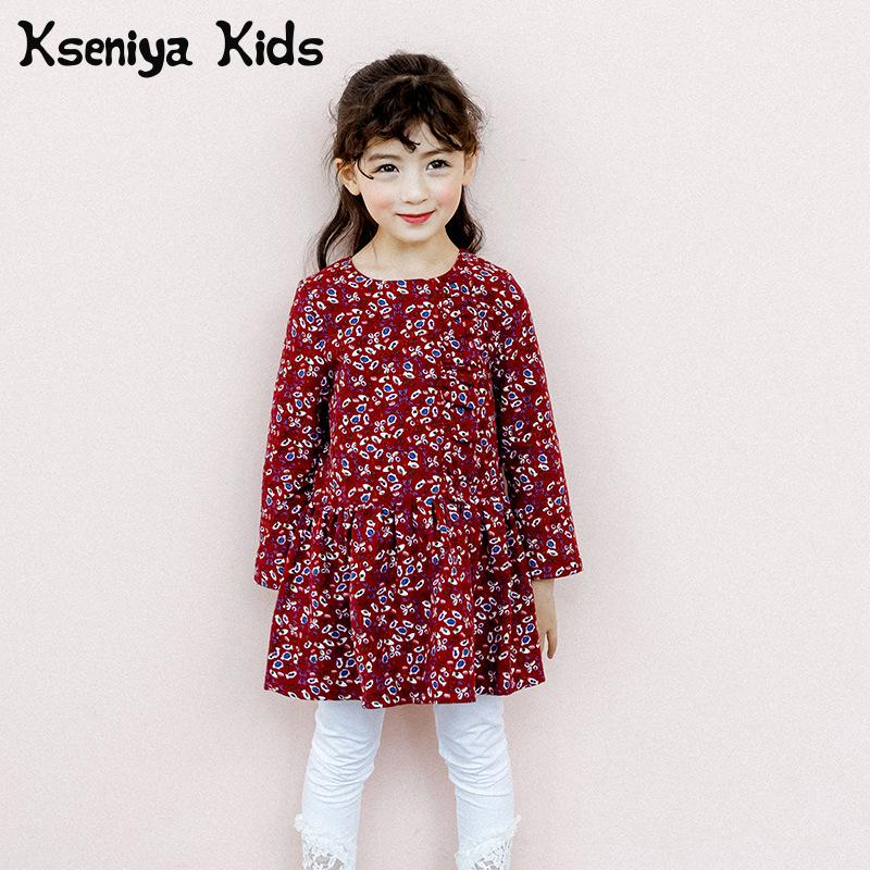 Kseniya Kids 2018 Girls Fall Fashion cute Dress Cotton Floral Dress Korean Baby Girl Dress Girls Dresses For Party And Wedding baby s cute floral pattern two way pur cotton spring fall cloak w hood deep blue