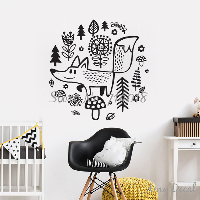 woodland fox animals wall decals forest tree flower wall stickers