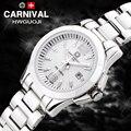 Carnaval relógio de luxo mulheres Cerâmica branca à prova d' água máquina Automática data relógio de pulso relogio feminino