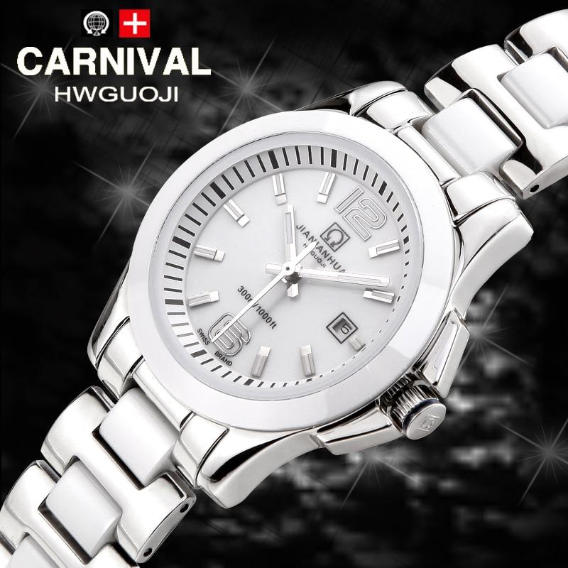 Luxury Carnival watch women white Ceramic  waterproof Automatic machine date wristwatch relogio feminine carnival ceramic pair watch men and women 100