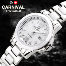 Luxury Carnival watch women white Ceramic  waterproof Automatic machine date wristwatch relogio feminine