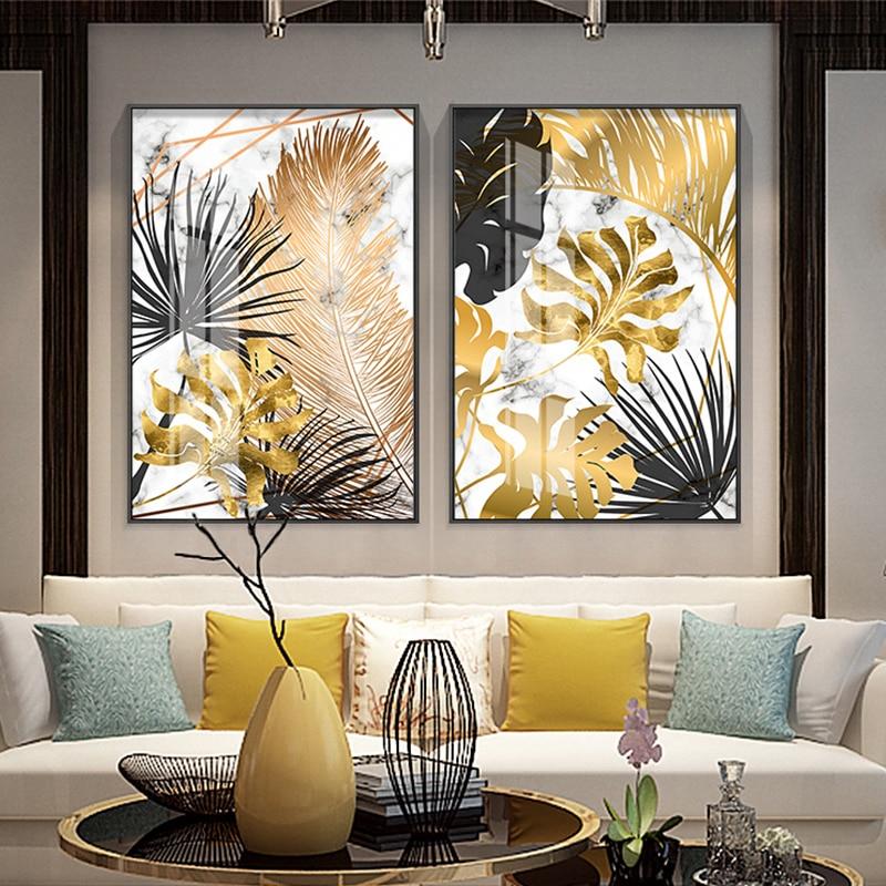 北欧植物ゴールデン葉キャンバス絵画ポスターやプリントウォールアートの写真リビングルームのベッドルームのダイニングルーム、モダンな装飾