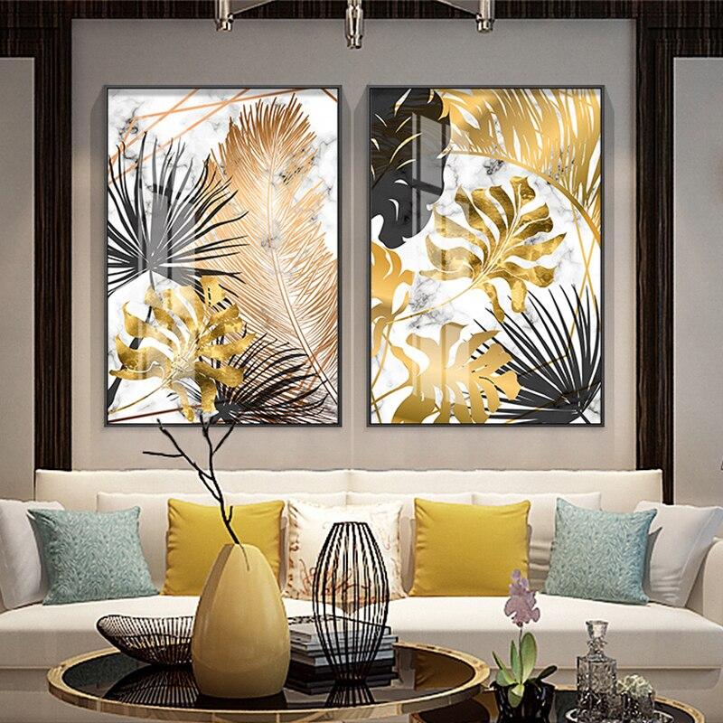 Nordic พืช Golden Leaf ภาพวาดผ้าใบโปสเตอร์และพิมพ์ภาพผนังสำหรับห้องนั่งเล่นห้องนอนห้องรับประทานอาหา...