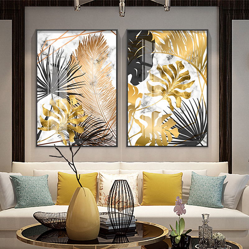 Nordic Plants Golden Leaf Canvas Painting Posters And