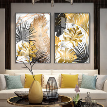 Nordic plants Golden leaf canvas painting posters and print wall art pictures for living room bedroom dinning room modern decor(China)
