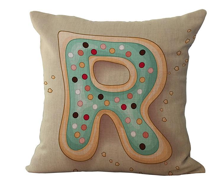 Abc Home Decorative Pillows : 26 Color Letters Children Study Linen Cushion Without Core Home Decor Decorative Throw Pillows ...