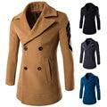 2016 Epaulet Sleeve Men's Wool Coat Winter Solid Thick Woolen Coats Men V-neck Casual Casaco masculino Double breasted Overcoat