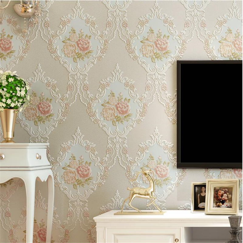 beibehang Fresh European pastoral 3D stereo wallpaper warm living room TV background wallpaper papel de parede europeu wallpaper beibehang european simplified ab version with three wallpaper deer leather embossed environmental wallpaper papel de parede