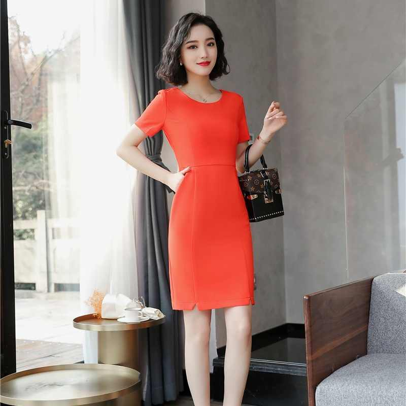9fabea7a810d Detail Feedback Questions about Fashion Women Party Dresses Orange red  Ladies Summer Work Dress Short Sleeve Mini Slim Office Uniform Styles OL on  ...