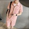 2017 Novo Conjunto de moda casual homens t-shirt macacão bodysuit macacão do vintage na altura do joelho-comprimento calças trajes cantor roupas