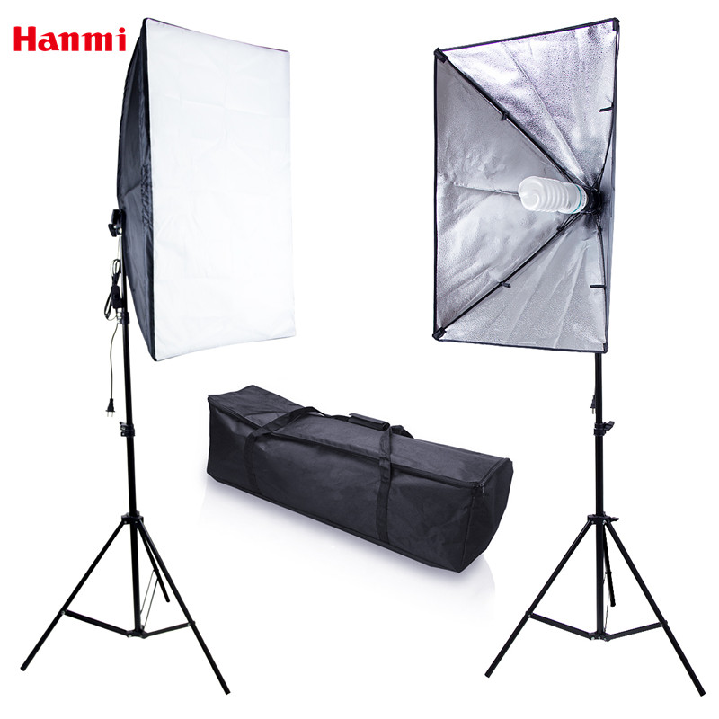 Hanmi Softbox Light Stand Light Lamp Bulbs Photo Studio Set Professional Flash Soft Box Camera Light Box Photography Accessories hanmi selfie &