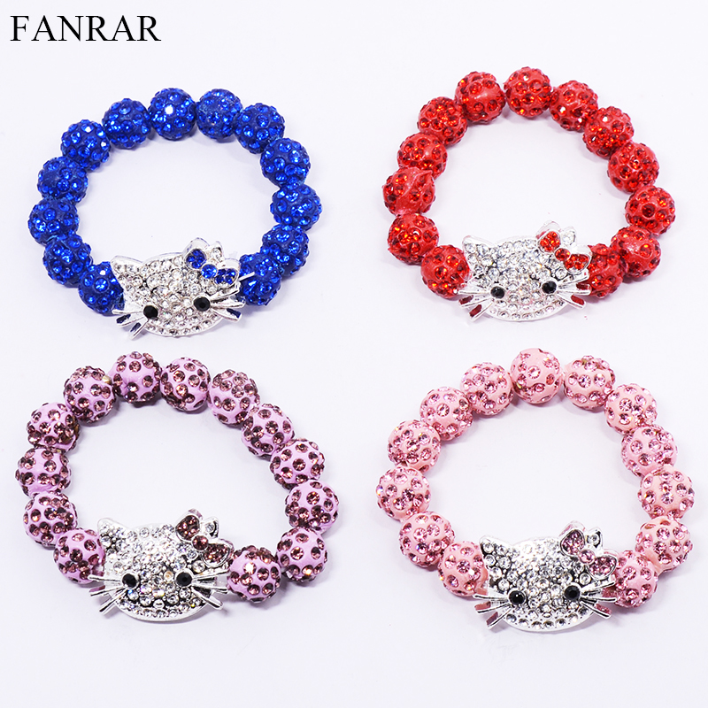 Pink Red Clay Hello Kitty Handmade Crystal Ball Bracelet Pave Candy Beads Children Kids Baby Bracelets Friendship Party Gift