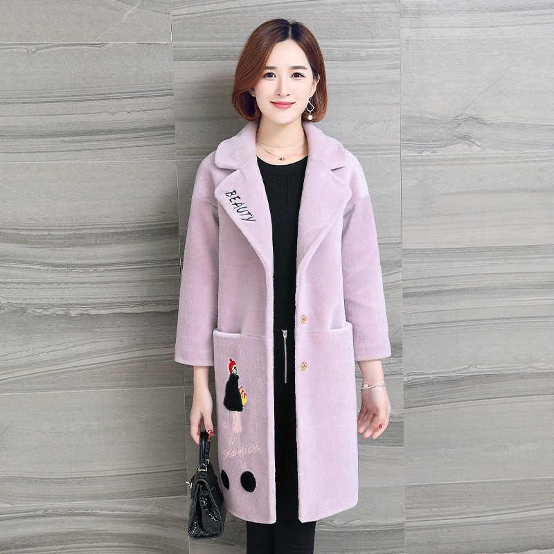 Зимнее пальто для женщин, верхняя одежда 2019, пальто из натурального меха, шерстяная куртка, Овечья овчина, меховые пальто, корейское длинное черное приталенное пальто Abrigo Mujer ZT400