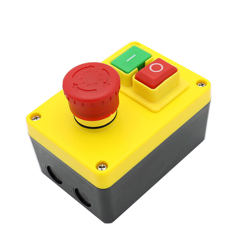 KEDU KJD17D-2 Industrial Start/Stop Safety Switch 220V 16A Power On Off Push Button Switches with Separate Emergency Stop Button ignition momentary press push button switch protective cover ycz3 c emergency stop & start 5 pin on off red sign 10a 125v