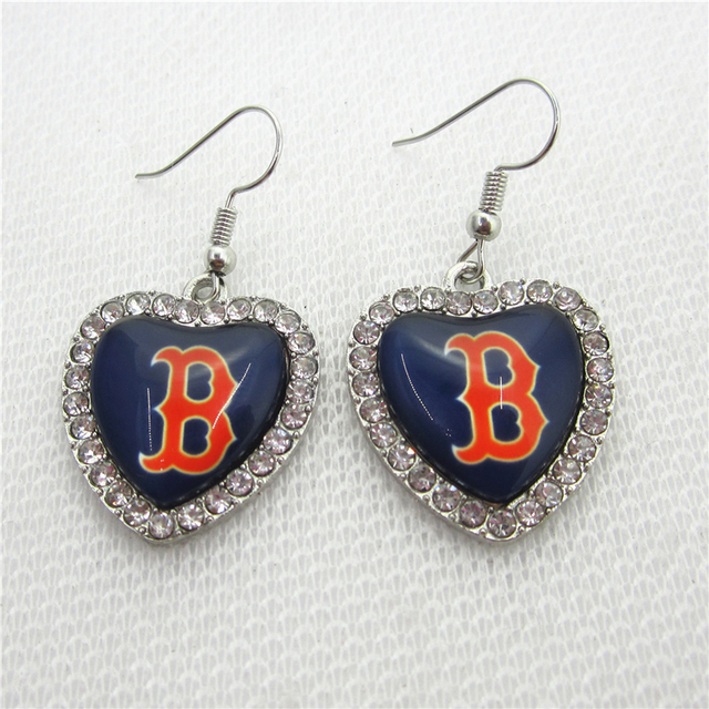 6pair Lot Crystal Heart Boston Red Sox Earring Us Sports Earrings Baseball Charms Jewelry