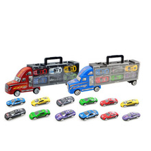 New container truck with 6Pcs 12Pcs alloy small cars children's toys for Christmas Birthday gift baby toys