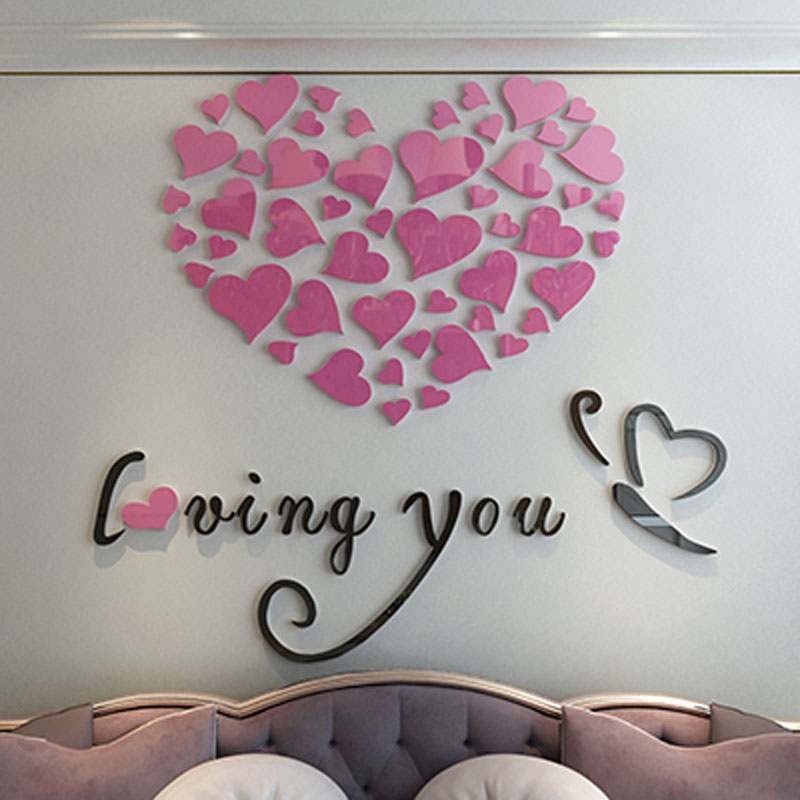Romantic Loving You Hearts Design 3D Acrylic Wall Stickers Sweet ...